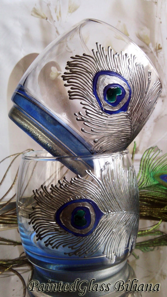 Set of 2 hand painted whiskey glasses Peacock feather in silver and blue