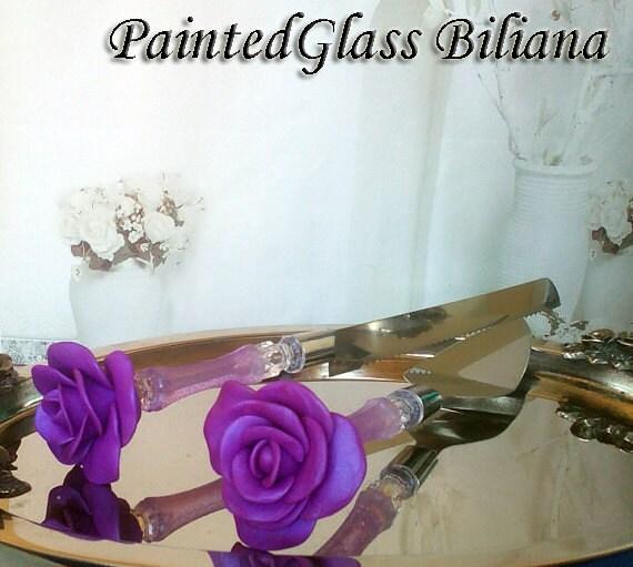 Wedding cake server and knife, purple wedding cake accessories, Rose wedding,  wedding supplies, cake server set, 2 pcs