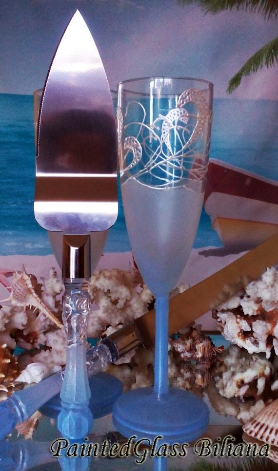 Something blue Wedding Glasses Champagne Flutes Set of 2 Beach Sea waves wedding theme