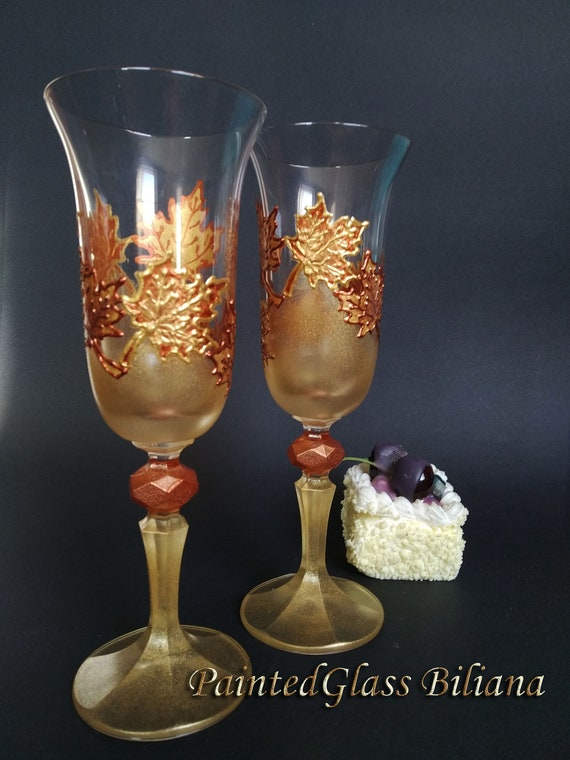 Autumn set of 2 hand painted toasting champagne flutes Maple leaves Cake serving set