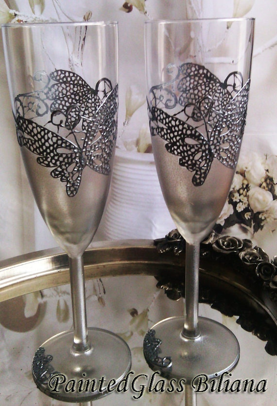 Wedding Glasses Champagne Flutes Set of 2 Silver Lace Butterfly