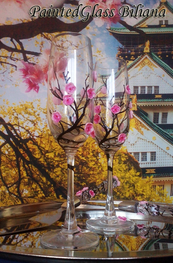 Sakura Wedding Toasting Glasses Cherry blossom wedding theme Champagne Flutes Hand Painted Set of 2 Ring pillow Cake serving set