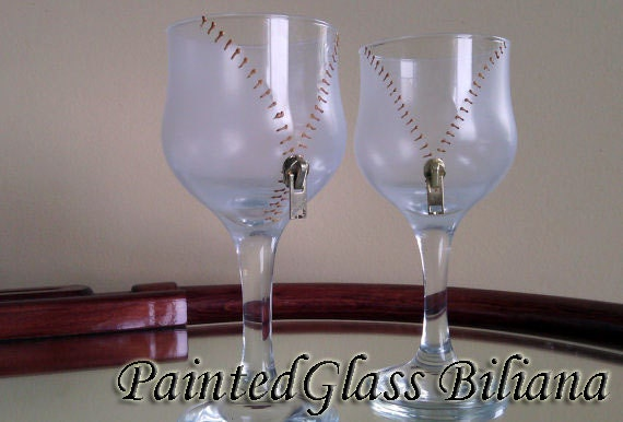Set of 2 Hand Painted  wine glasses Undress me