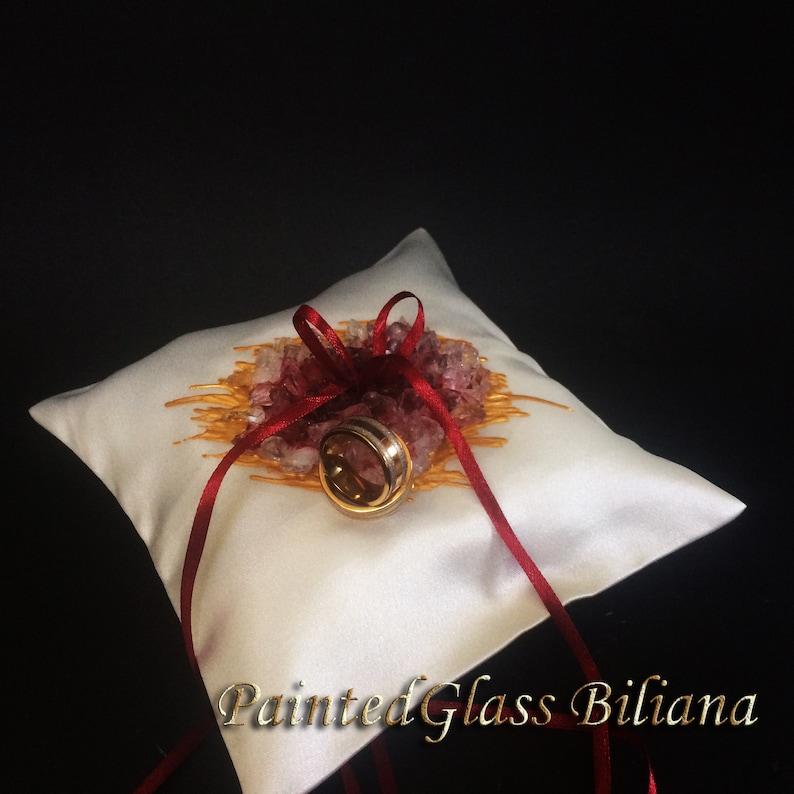 Burgundy red geode ring pillow