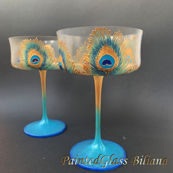 Unique Wedding Glasses Peacock feather Champagne Flutes Hand Painted Set of 2 Peacock theme wedding