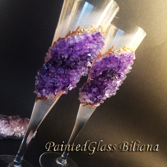 Free shipping Amethyst geode wedding flutes