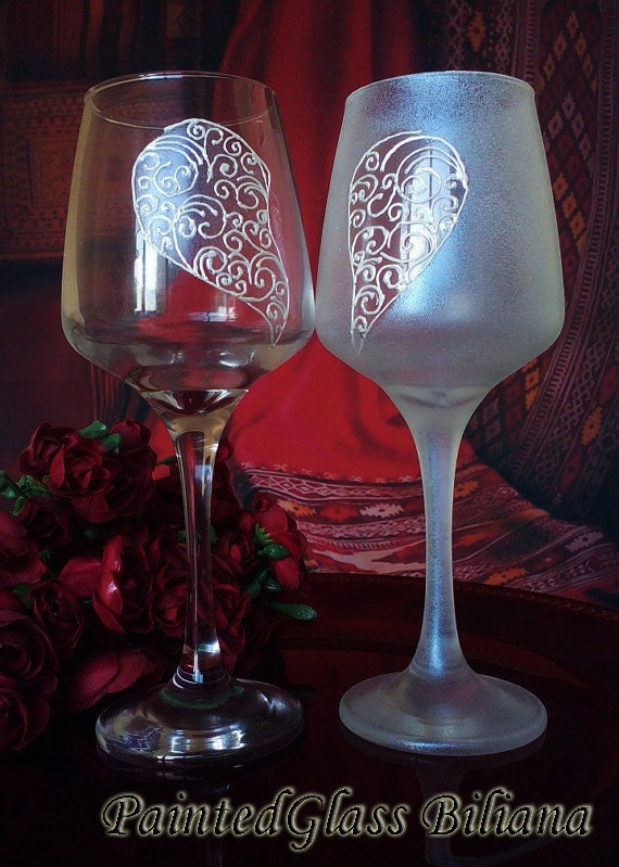 Set of 2 Hand Painted beautiful wine glasses Love