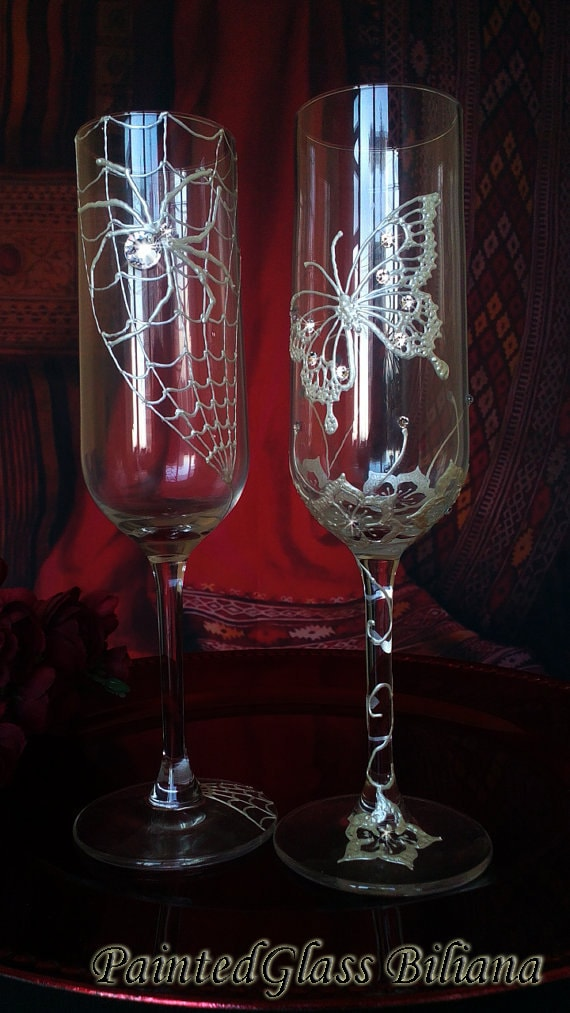 Set of 2 hand painted champagne flutes Swarovski crystal Butterfly and Spider couple funny wedding glasses