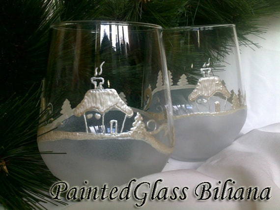 Set of 2 Hand Painted beautiful wine glasses Cold winter