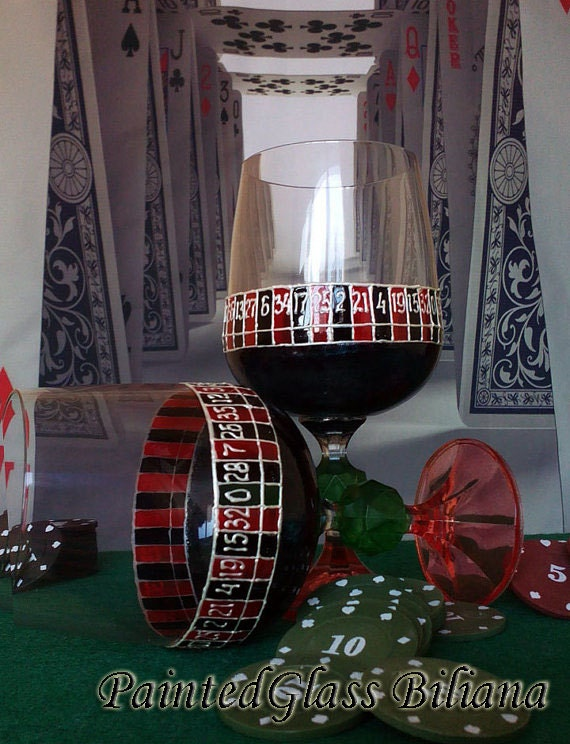 Vegas SET of 2 Hand Painted wine glasses Casino roulette theme in red and black