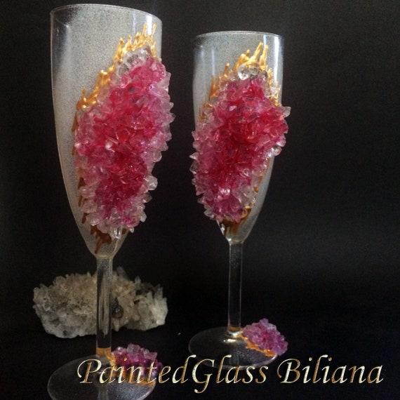 Pink geode wedding flutes