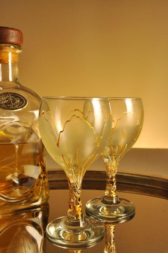 Set of 2 hand painted aperitif grappa  glasses Golden Tulip