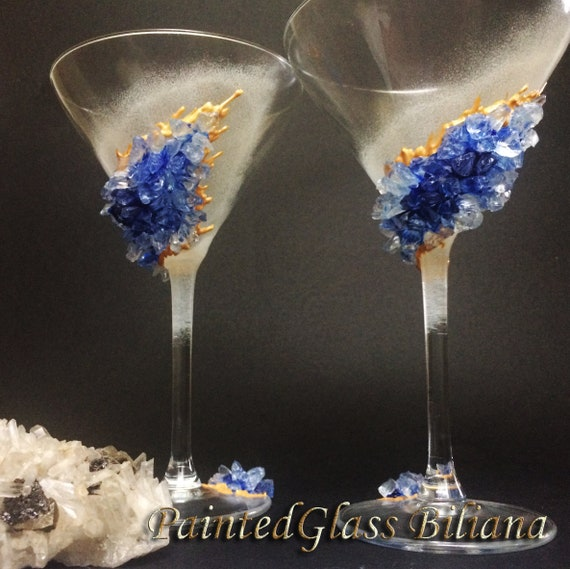 Blue geode Martini glasses