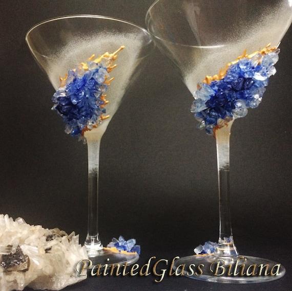 Blue geode Martini glasses, set of 4