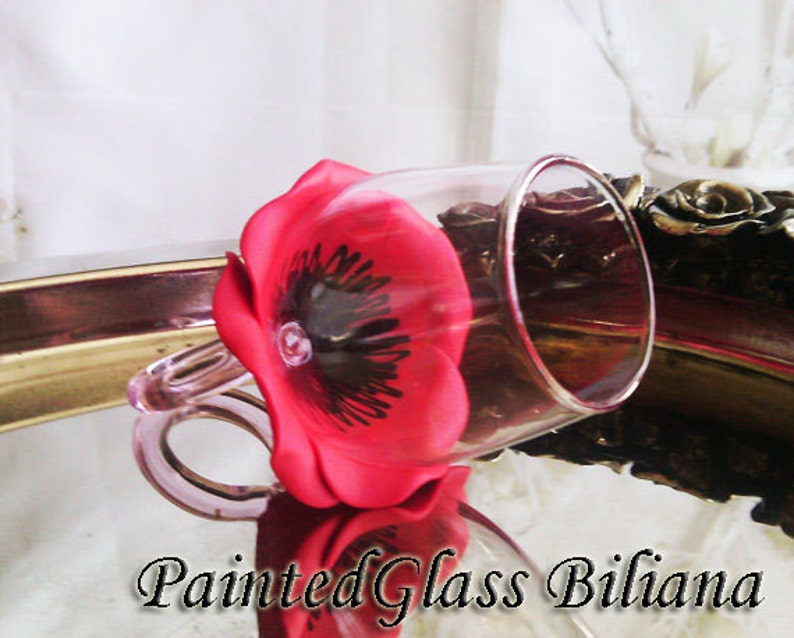PERSONALIZED Ring wine glass Red poppy bridesmaid gift image 0