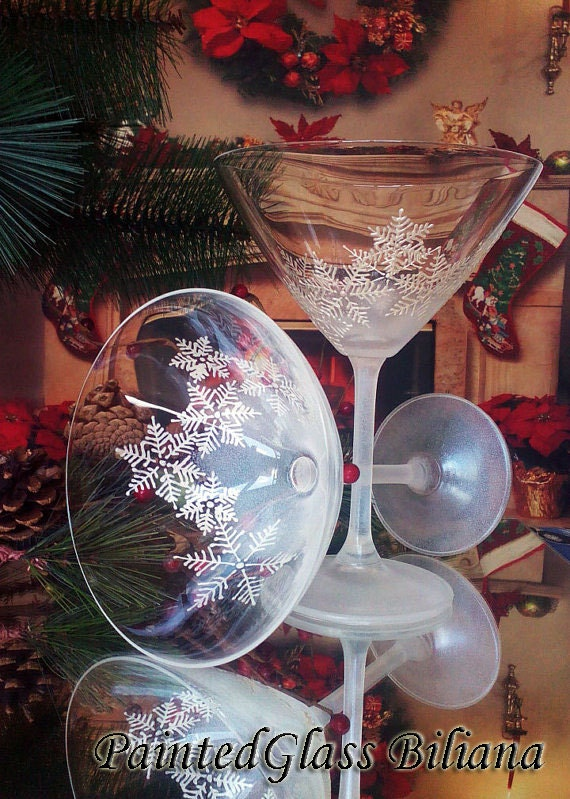 CRYSTAL SET of 2 Winter Christmas hand painted martini glasses White snowflakes
