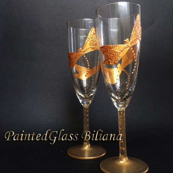 Set of 2 hand painted wedding champagne flutes gold dragonflies