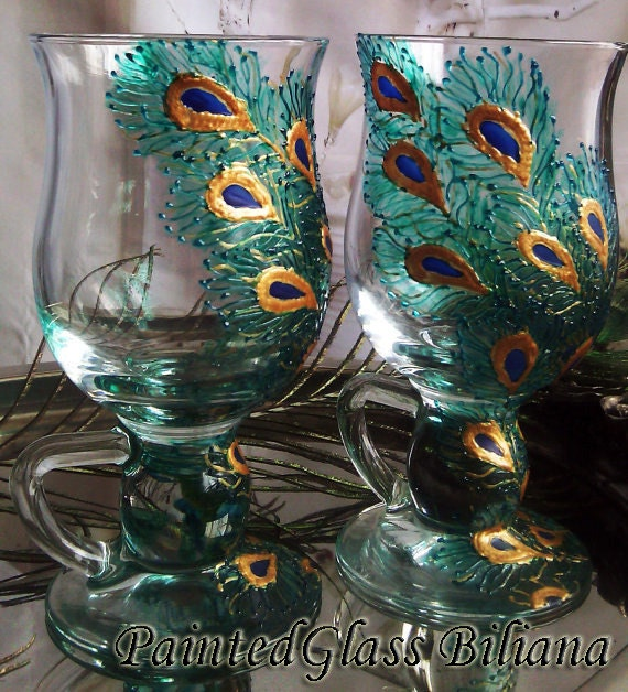 Set of 2 Hand Painted tea /coffee/ Irish coffee glasses Peacock feathers in gold and blue color