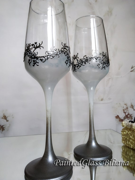 Set of 2 hand painted wedding flutes champagne glasses Classic white and silver Cake serving set