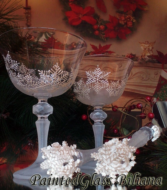 Set of 2 Crystal Winter Wedding toasting hand painted champagne flutes White snowflakes Cake serving set