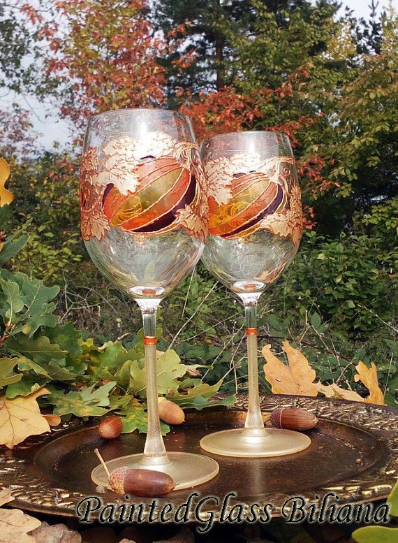 Autumn CRYSTAL SET of 2 pumpkin wine toasting glasses in gold, yellow and brown