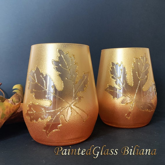 Autumn stemless set of 2 Maple Leaf toasting wine glasses in gold and copper color