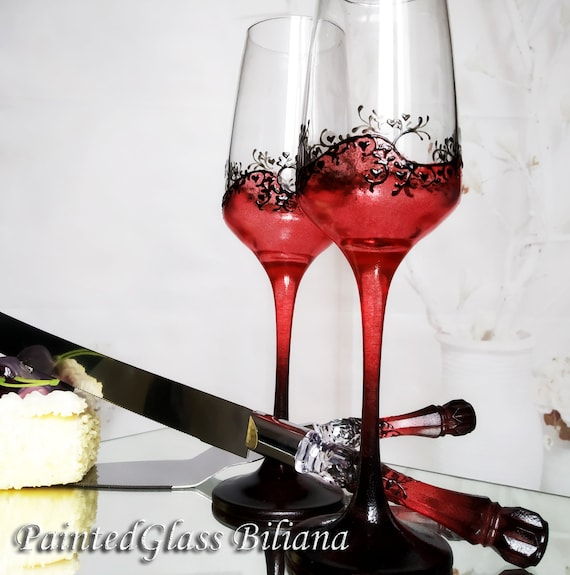 Set of 2 hand painted wedding flutes champagne glasses Classic Black and red Cake serving set server & knife Gatsby style
