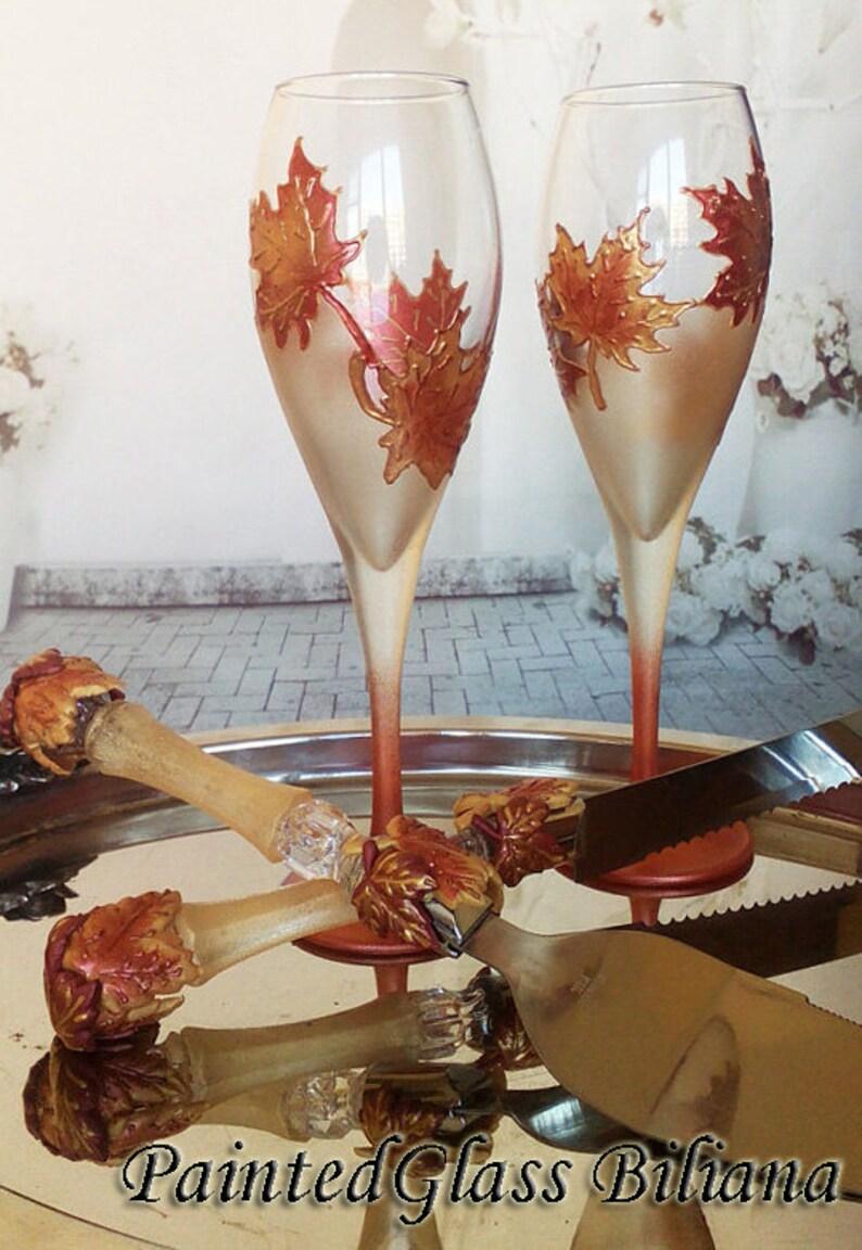 Autumn set of 2 hand painted wedding champagne flutes Maple image 0