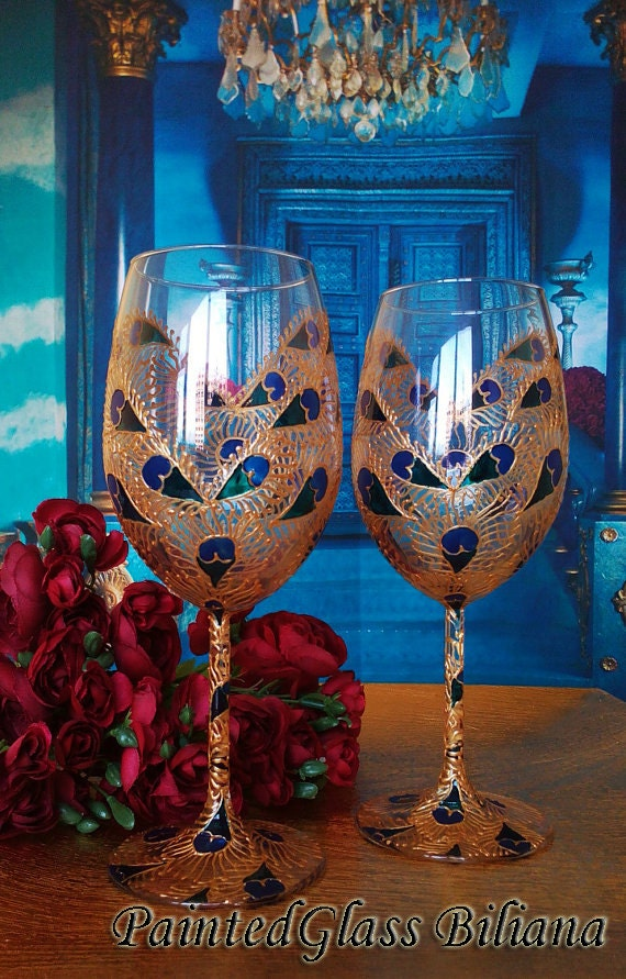 Set of 2 Hand Painted wine glasses Peacock feather lace heart in blue, turquoise and gold color