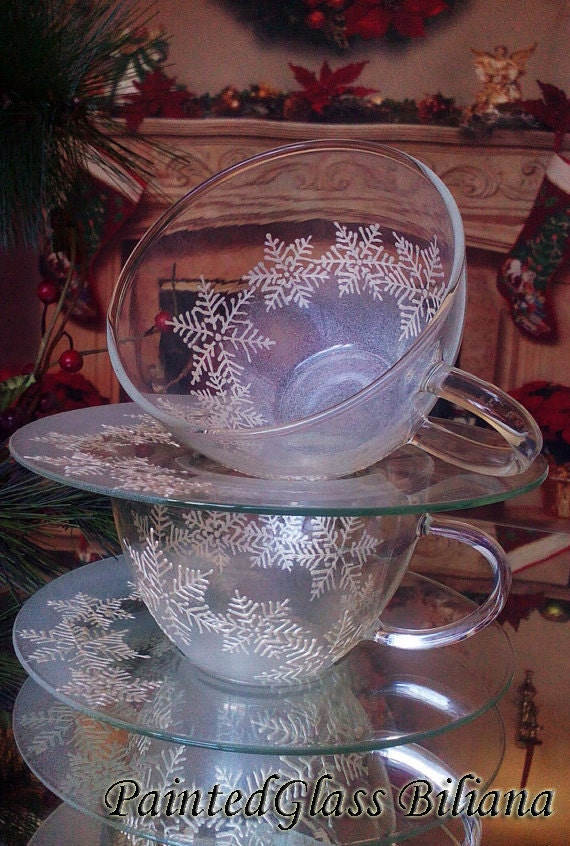 Set of 2 Hand Painted Tea Coffee Glass Cups Snowflake fantacy white winter christmas glasses