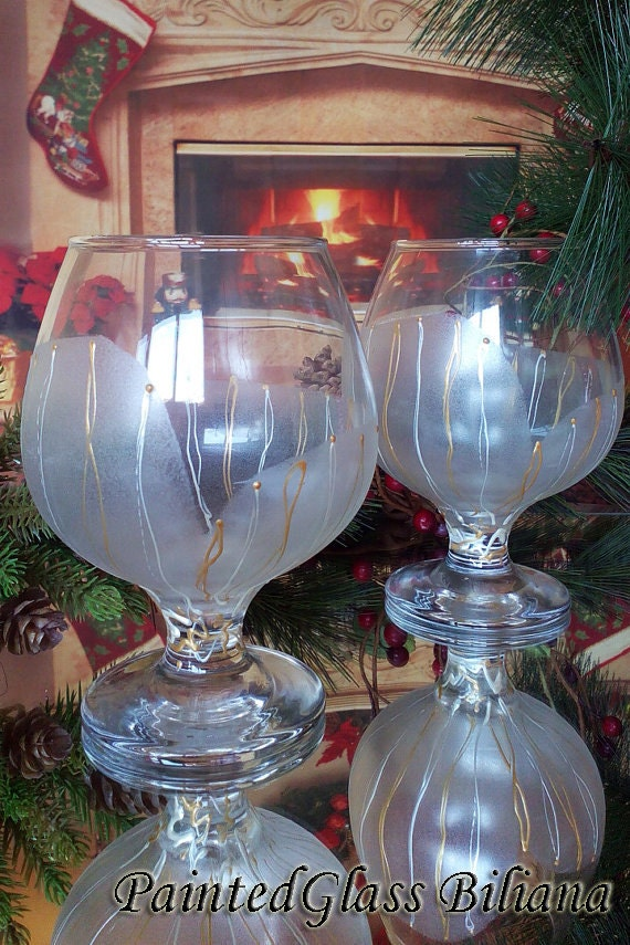 Set of 2 Hand Painted Brandy Cognac Whiskey glasses Calla