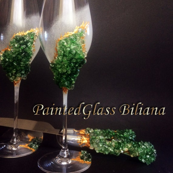 20% off Green geode wedding flutes & Cake set