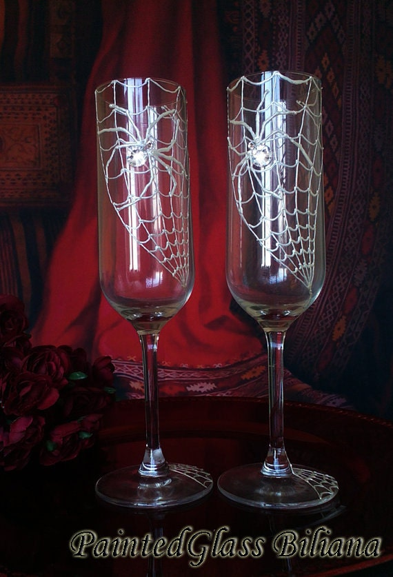 Set of 2 hand painted champagne flutes Swarovski crystal Spider couple toasting wedding glasses