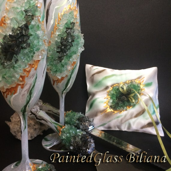 Green marble geode wedding set ring pillow, champagne flutes and a cake serving set