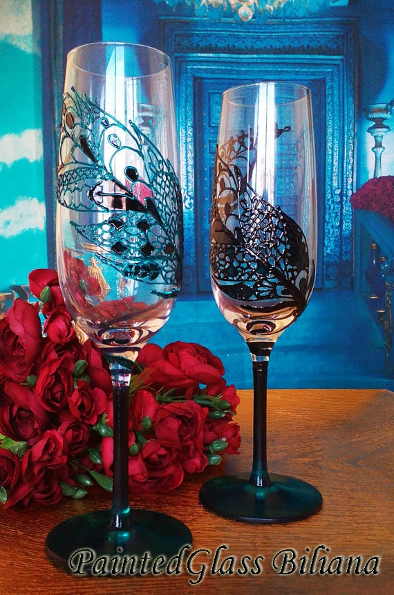 CRYSTAL SET of 2 hand painted Wedding Glasses champagne flutes feather theme in turquoise and black color