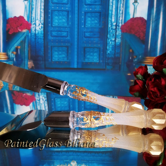 White gold Gatsby style cake server and knife