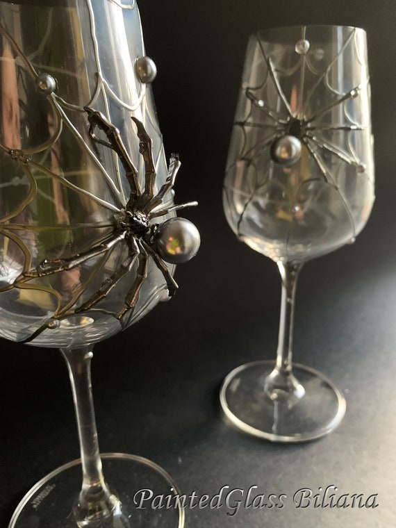 Dark silver spider wine glasses