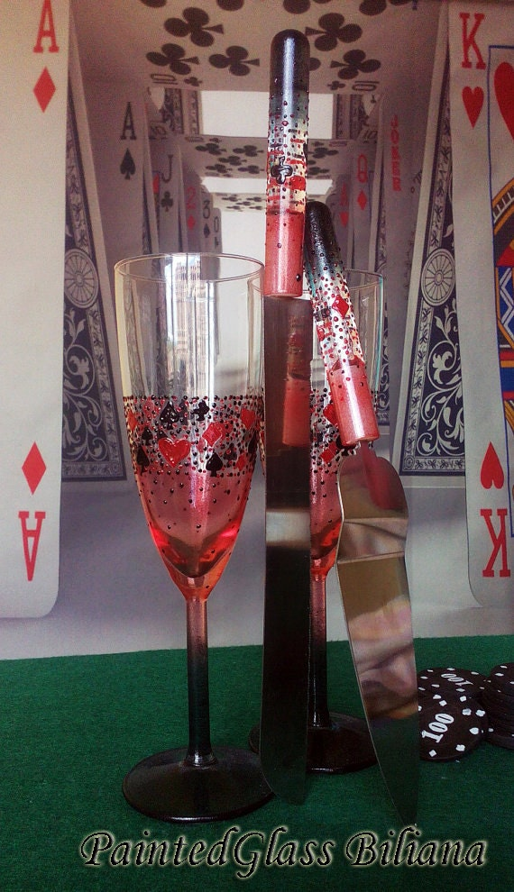 Casino Wedding Glasses Champagne Flutes Set of 2 Heart Spade Club Diamond in red and black color Cake serving set server and knife