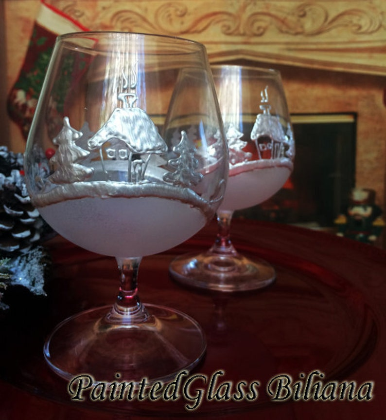 Set of 2 Hand Painted Christmas brandy cognac glasses Cold image 0