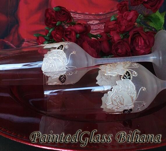 CRYSTAL SET of 2  White rose wedding champagne flutes with Swarovski crystals