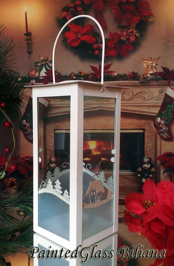 Christmas hand painted Lantern candle holder Snowy Winter