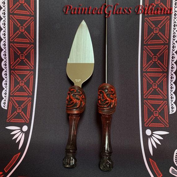 Game of thrones cake serving set handmade hand painted  server knife House Targaryen