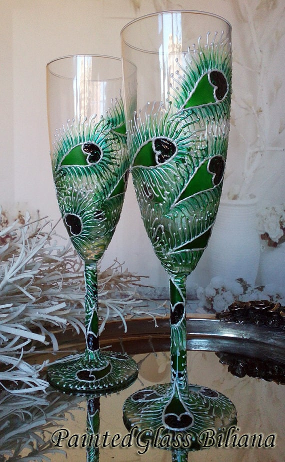 Set of 2 hand painted wedding champagne flutes Lace peacock feather design in white and green color