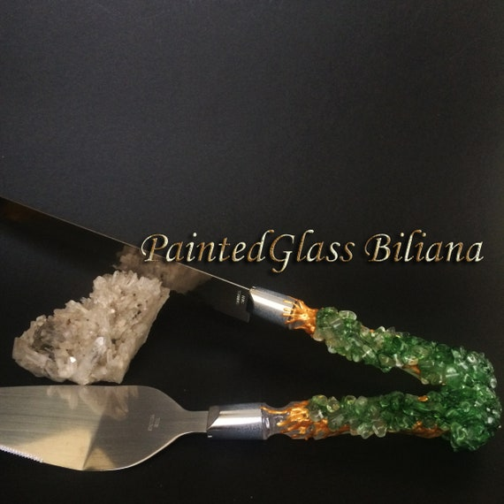 Green geode wedding cake serving set