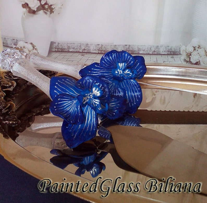 Wedding cake server and knife blue wedding cake accessories image 0