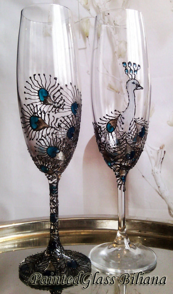 Peacock Set of 2 hand painted wedding champagne flutes Peacock feathers personalized toasting glasses in silver and turquoise color