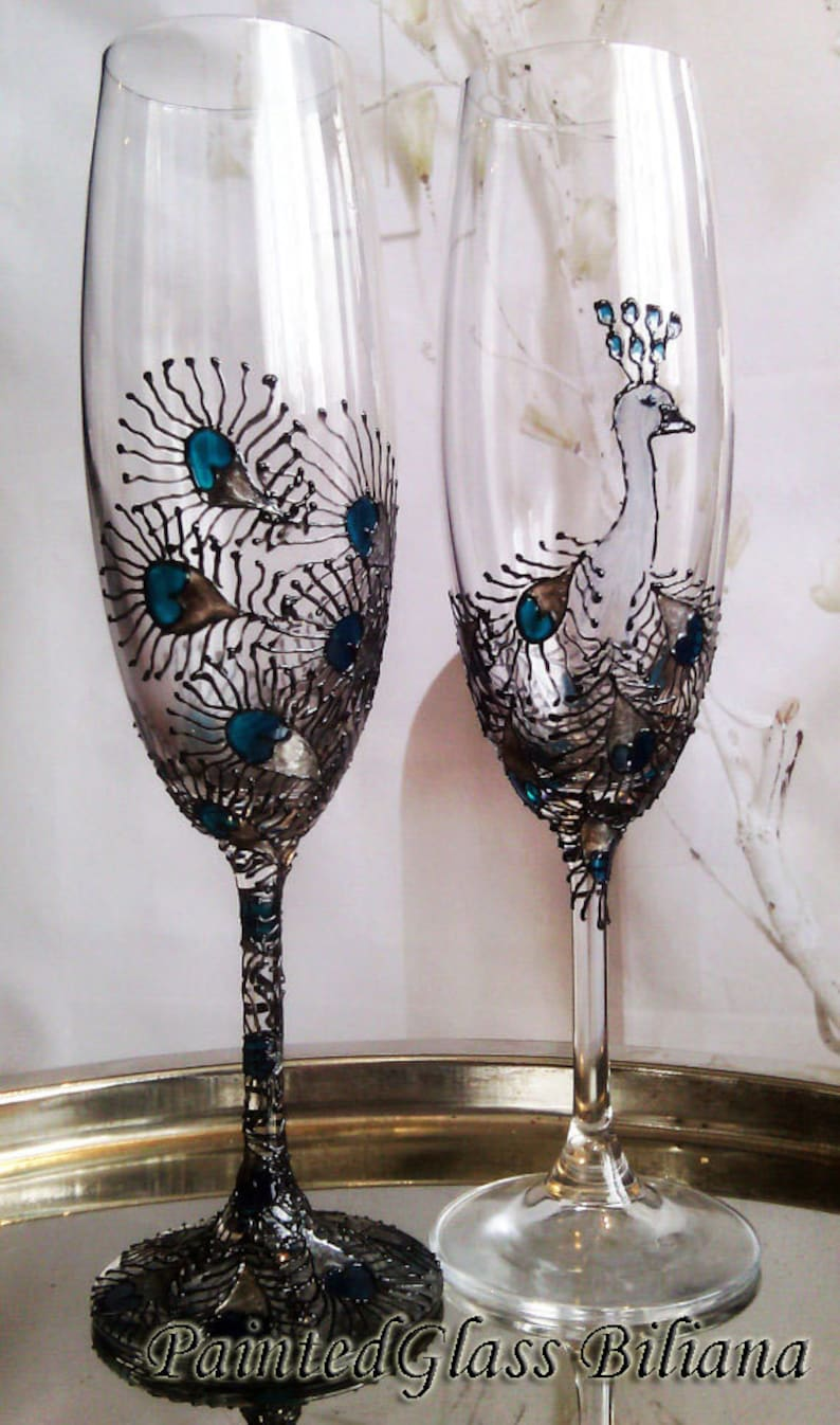 Peacock Set of 2 hand painted wedding champagne flutes Peacock image 0
