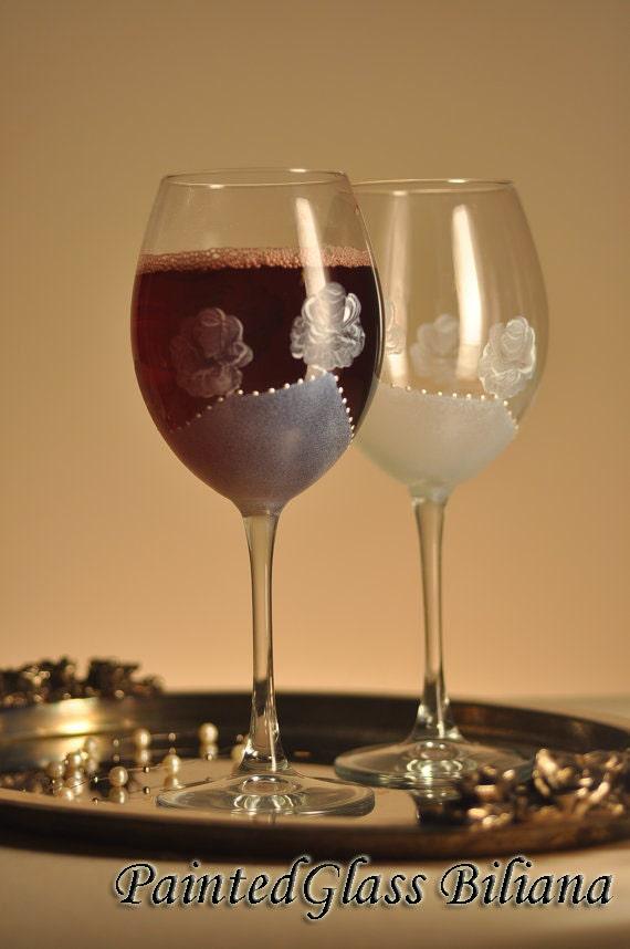 Set of 2 Hand Painted beautiful wine glasses White rose