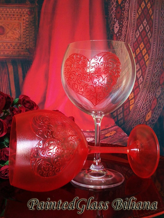 CRYSTAL SET of 2 Hand Painted wine glasses Love in red