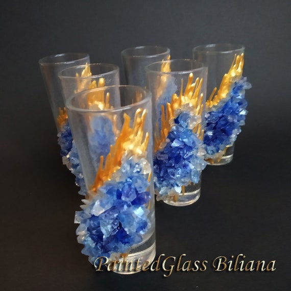 Tequilla blue geode glasses, set of 6